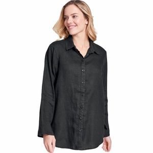 Flax Black Linen Lagenlook Button Up